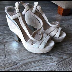 Miu miu platform suede heels